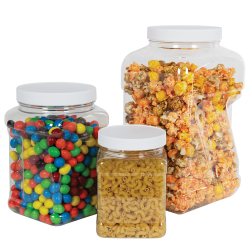 64 oz. Clear PET Square Pinch Grip-It Jar with 120/400 Cap