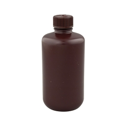 16 oz./500mL Nalgene™ Narrow Mouth Amber Bottles with 28mm Caps - Case of 48