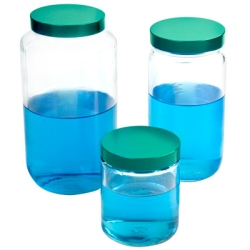Safety-Coated Glass Wide Mouth Bottles with Caps