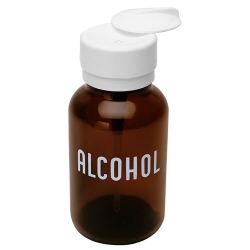 8 oz. Amber Round Glass Alcohol Bottle with Pump