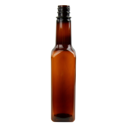 10 oz. Square Sauce Bottle with 24/414 Neck (Cap Sold Separately)