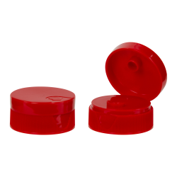28/400 Red Ribbed Snap Top Caps with .25