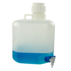 20 Liter Azlon ® Polypropylene Square Carboy with 90mm Cap & Corner Stopcock