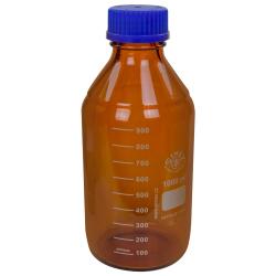 1000mL Amber Glass Media/Storage Bottle with 45GL Cap