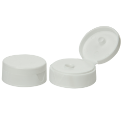 38/400 White Ribbed Snap-Top Cap with 0.25