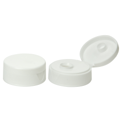 38/400 White Ribbed Snap-Top Cap with .6875