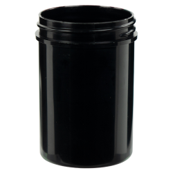 4 oz. Black Polypropylene Thick Wall Straight Sided Jar with 53/400 Neck (Cap Sold Separately)