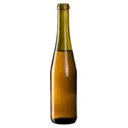375mL Antique Green Glass Flat Bottom Bottle w/ Cork Neck