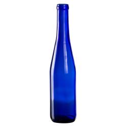 375mL Cobalt Blue Glass Flat Bottom Bottle w/ Cork Neck