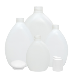 10.14 oz./300mL Natural Pluto Oval HDPE Bottle with 24/410 Neck (Cap Sold Separately)