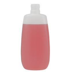 250mL Natural Flat Oval HDPE Bottle with 24/415 Neck (Cap Sold Separately)