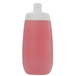 16.91 oz./500mL Natural Flat Oval HDPE Bottle with 24/415 Neck (Cap Sold Separately)
