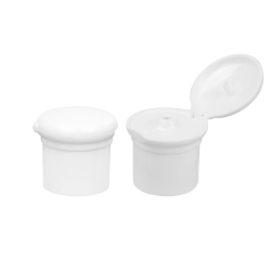 24/415 White Polypropylene Chef's Hat Flip-top Cap with Bore Seal