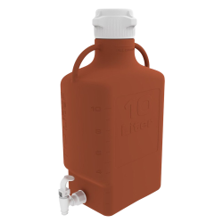 10 Liter Amber EZgrip ® HDPE with 83mm Closed Cap & Spigot
