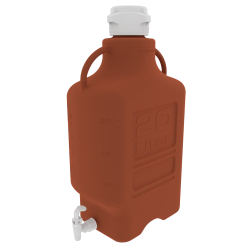 20 Liter Amber EZgrip ® HDPE Carboy with 120mm Closed Cap & Spigot