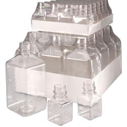 125mL Nalgene™ Sterile Square PET Media Bottle with 38/430 Neck - Case of 96 (Cap Sold Separately)