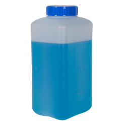 2000mL HDPE Rectangular Wide Mouth Graduated Bottle with Cap