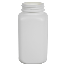 8 oz./260cc Square White HDPE Wide Mouth Packer with 45/400 Neck (Cap Sold Separately)