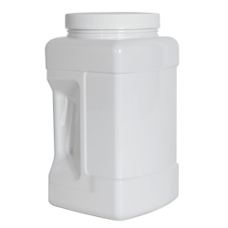 128 oz. White PET Square Pinch Grip-It Jar with 120/400 Cap