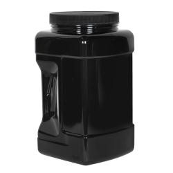 128 oz. Black PET Square Pinch Grip-It Jar with 120/400 Cap