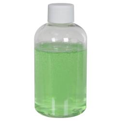 4 oz. Clear PET Squat Boston Round Bottle with 24/410 Plain Cap