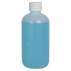 8 oz. HDPE Natural Boston Round Bottle with 24/410 Plain Cap