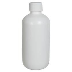 8 oz. HDPE White Boston Round Bottle with 24/410 Plain Cap