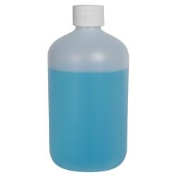 16 oz. HDPE Natural Boston Round Bottle with 28/410 Plain Cap