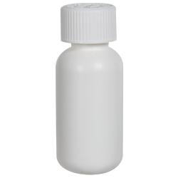 1 oz. HDPE White Boston Round Bottle with 20/410 CRC Cap