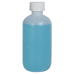 8 oz. HDPE Natural Boston Round Bottle with 24/410 CRC Cap