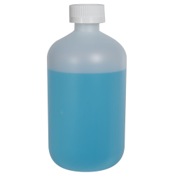 16 oz. HDPE Natural Boston Round Bottle with 28/410 CRC Cap