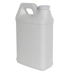 64 oz. White Fluorinated F-Style Jug with 38/400 Plain Cap