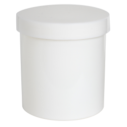 16 oz. White Polypropylene Round Ointment Jar with Cap