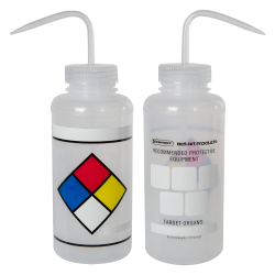 1000mL (32 oz.) Scienceware ® LYOB (Label Your Own) Wide Mouth Safety-Labeled Wash Bottle with 53mm Caps