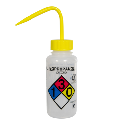 250mL (8 oz.) Scienceware ® Isopropanol Safety-Vented & Labeled Wide Mouth Wash Bottle with Yellow 53mm Cap