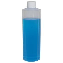 16 oz. Natural LDPE Cylindrical Bottle with 28/410 Plain Cap