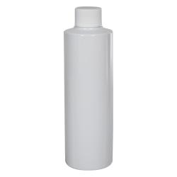 8 oz. White PVC Cylindrical Bottle with 24/410 Plain Cap