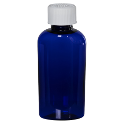 2 oz. Cobalt Blue PET Cosmo Oval Bottle with CRC 20/410 Cap