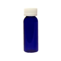 1 oz. Cobalt Blue PET Cosmo Round Bottle with CRC 20/410 Cap with F217 Liner