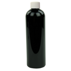 12 oz. Black PET Cosmo Round Bottle with Plain 24/410 Cap with F217 Liner