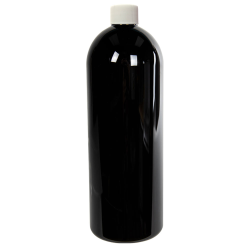 16 oz. Black PET Cosmo Round Bottle with Plain 24/410 Cap with F217 Liner