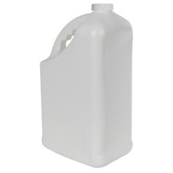 128 oz. White HDPE PCR Slant Handle Jug with 38/400 Plain Cap