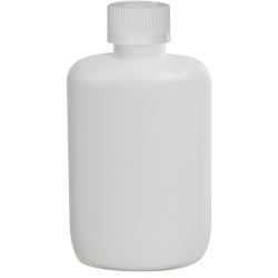 2 oz. White HDPE Oval Bottle with 20/410 CRC Cap