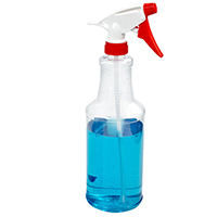 32 oz. Clear PVC Spray Bottle with Blue & White Sprayer