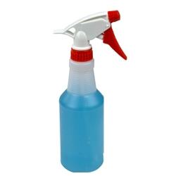 16 oz. Round Spray Bottle with 28/400 Red & White Sprayer
