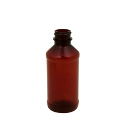 4 oz. Modern Round Amber PET Bottle with 24/400 Neck (Cap Sold Separately)