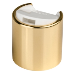 24/410 Gold & White Disc Top Cap