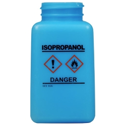 6 oz. DurAstitic™ Blue HDPE Bottle with Isopropanol HCS Label  (Pump Sold Separately)