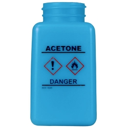 6 oz. DurAstitic™ Blue HDPE Bottle with Acetone HCS Label  (Pump Sold Separately)