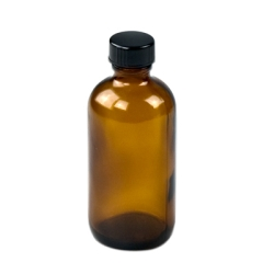 4 oz. Amber Boston Round Glass Bottles with 22/400 Polycone-lined Caps